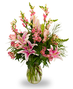 Pink and white vase arrangement